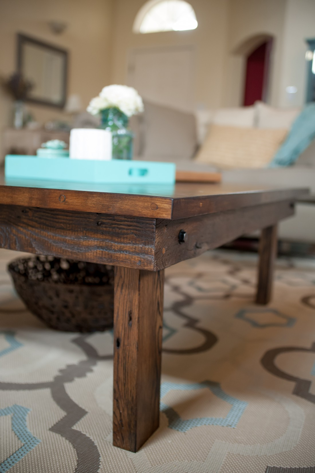 Custom reclaimed chevron wood coffee table