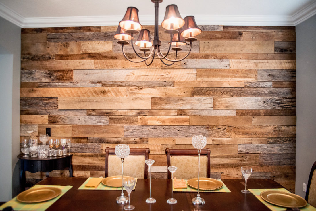 The Hughes Dining Room Reclaimed Wood Accent Wall Fama