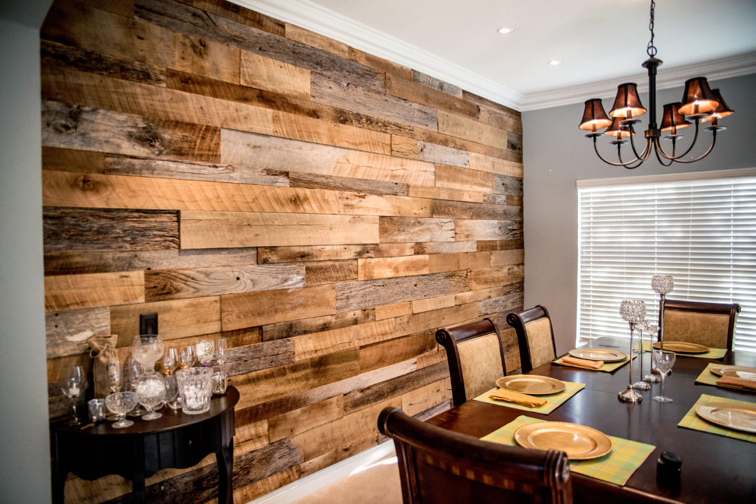 Orlando reclaimed wood walls barnwood Orlando reclaimed wood walls made  from barnwood ... - The Hughes' Dining Room Reclaimed Wood Accent Wall Fama Creations