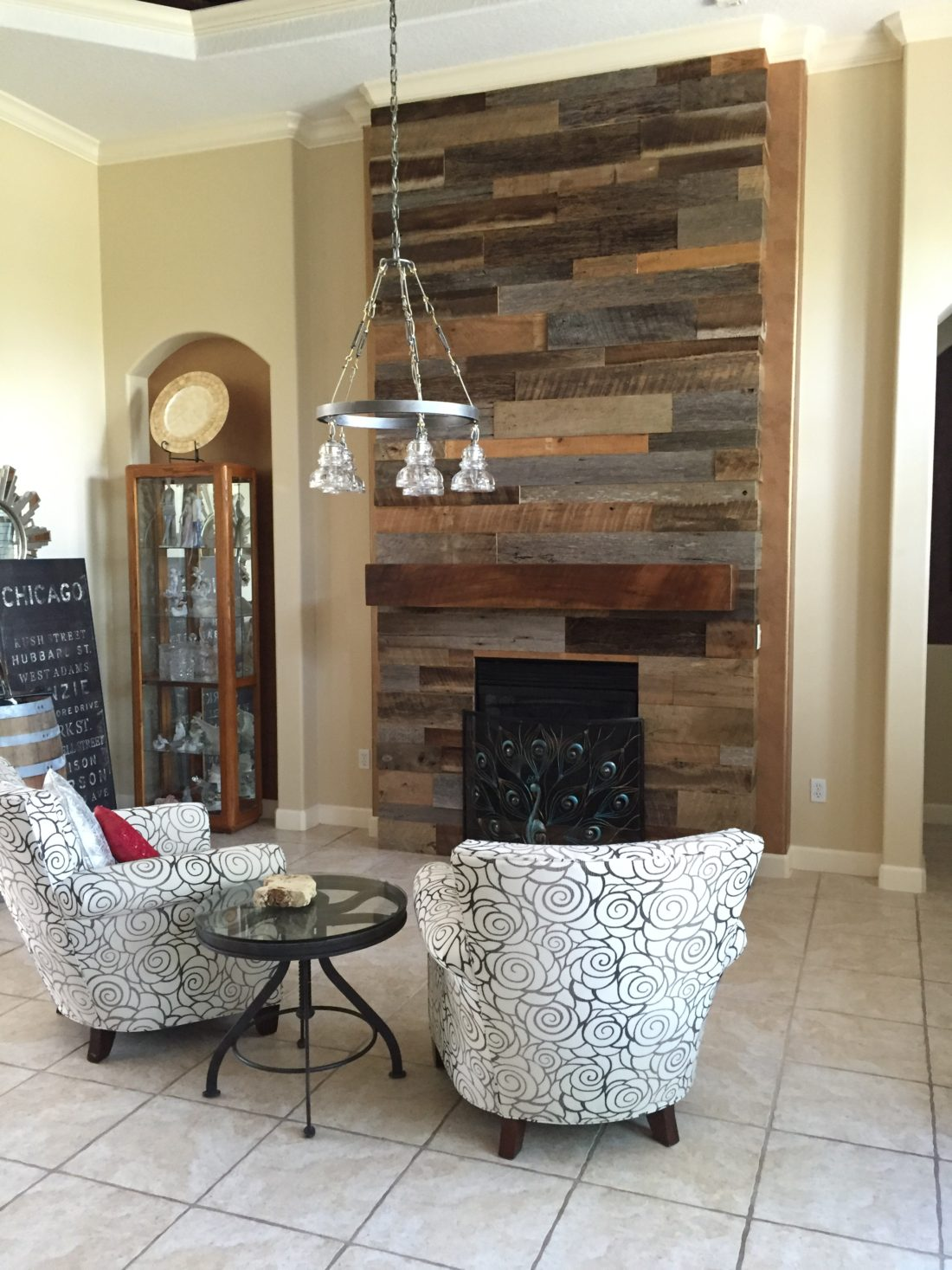 Lynn S Reclaimed Wood Accent Wall With Custom Mantle