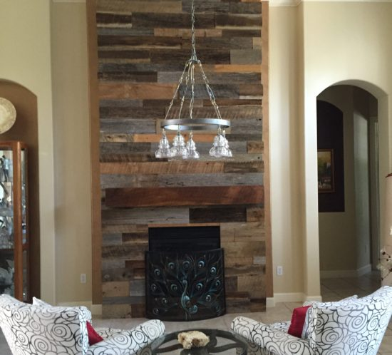 Lynnu0027s Reclaimed Wood Accent Wall With Custom Mantle