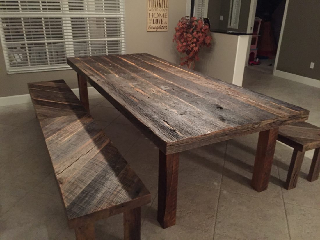 Stacys Rustic Reclaimed Wood Dining Table With Matching Benches - Distressed wood dining table with bench