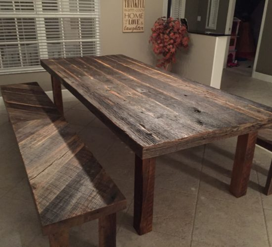 Stacyu0027s Rustic Reclaimed Wood Dining Table With Matching Benches