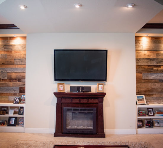 Orlando living room reclaimed wood walls