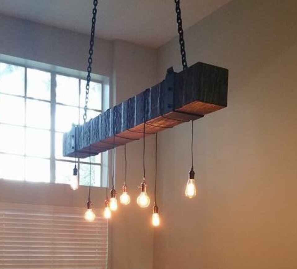 reclaimed wood beam chandelier with vintage lights