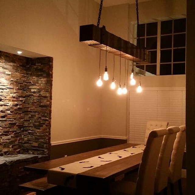 Reclaimed Wood Beam Chandelier With Edison Bulbs Fama