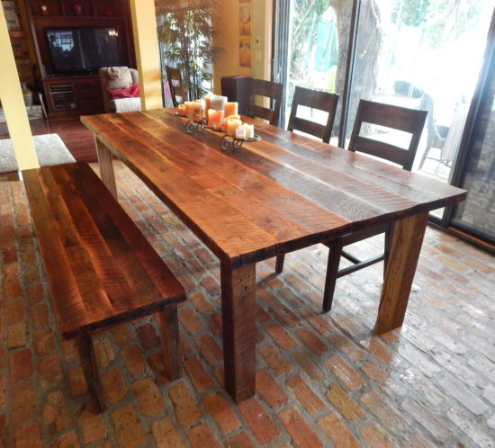 Dawnu0027s Reclaimed Wood Farmhouse Dining Table