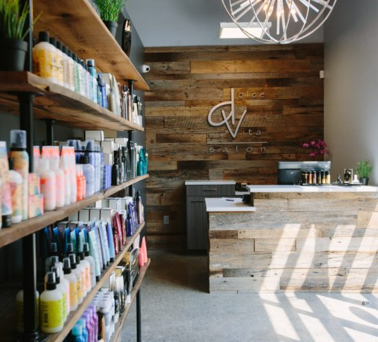 Orlando salon reclaimed wood decor