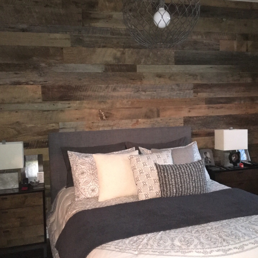 hoboken reclaimed barn wood master bedroom accent wall