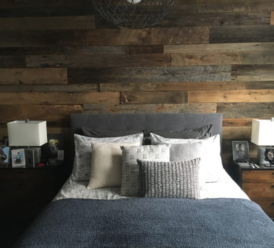 Kristy's Master Bedroom Reclaimed Wood Accent Wall - Orlando Reclaimed Wood Walls Custom Wood Walls