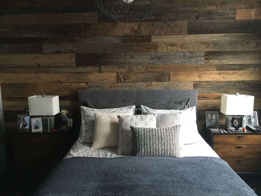 Kristy's Master Bedroom Reclaimed Wood Accent Wall | Fama ...