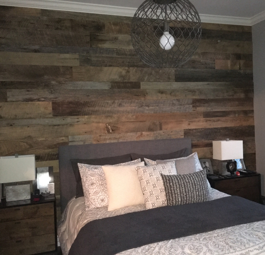 Kristy 39 S Master Bedroom Reclaimed Wood Accent Wall Fama Creations