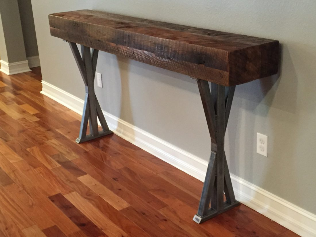 Foyer Table Bench : Trevor s reclaimed wood foyer table with metal legs fama