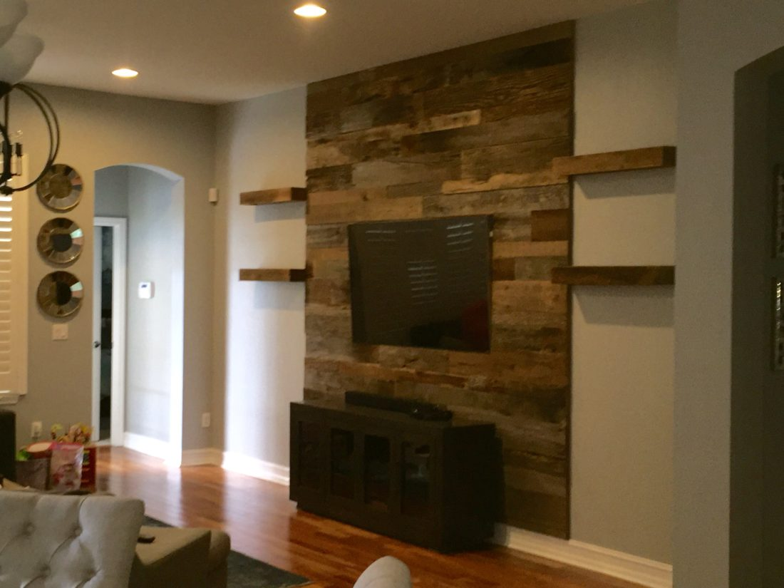 Trevors reclaimed barn wood accent wall with shelving fama orlando barn wood accent wall with shelves amipublicfo Images