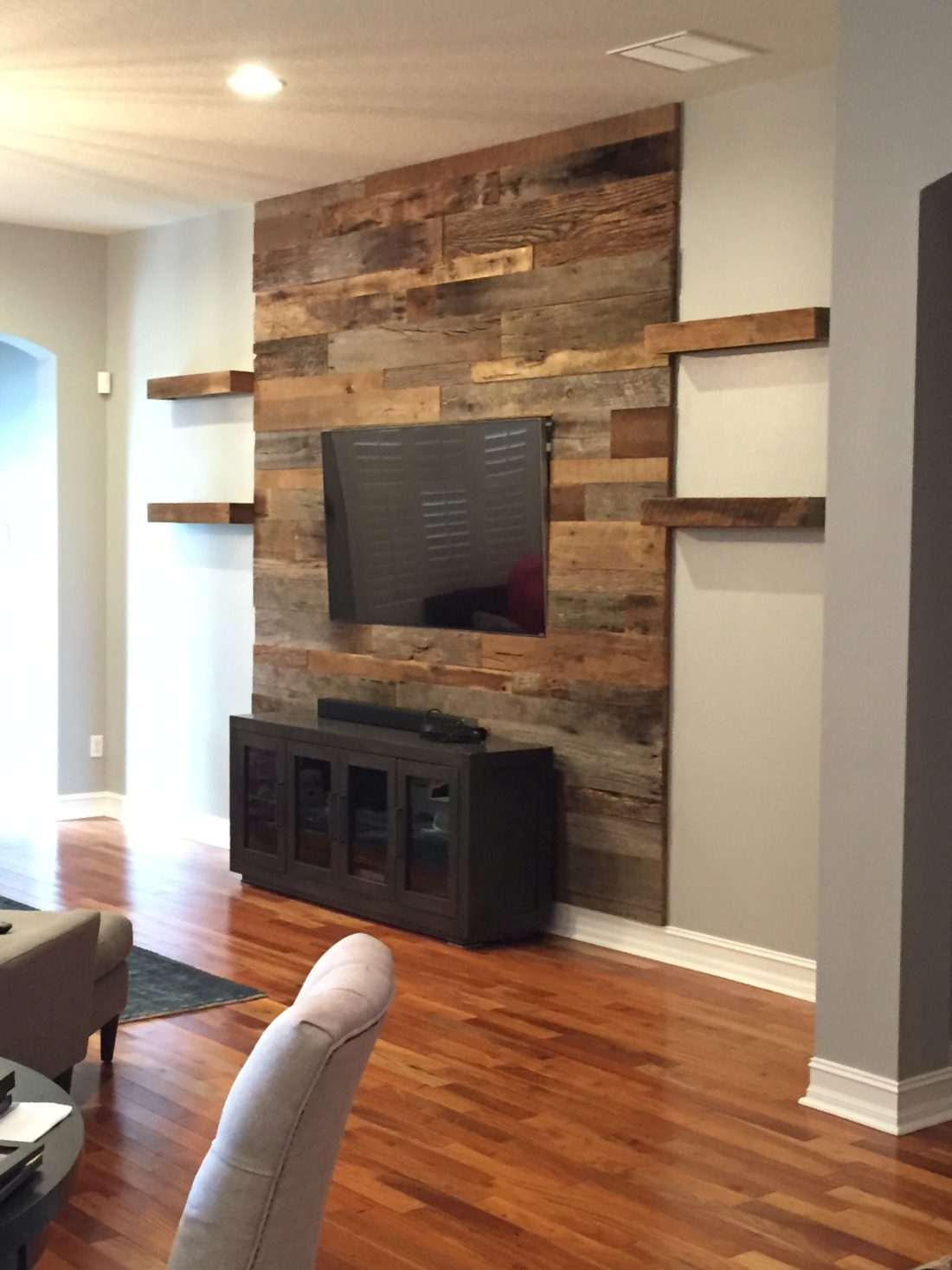 Living Room Feature Wall Design: Trevor's Reclaimed Barn Wood Accent Wall With Shelving