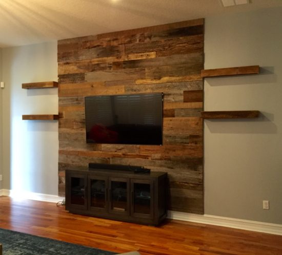 orlando barn wood accent wall with shelves