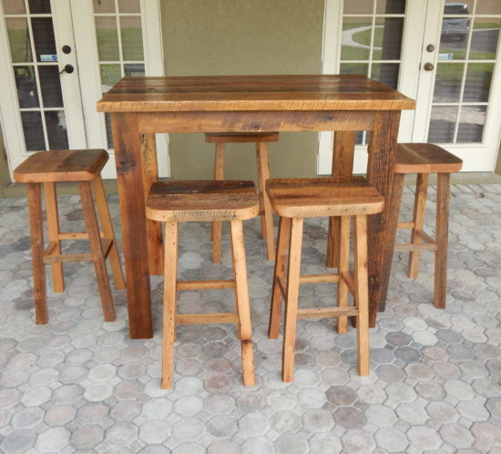 Carlau0027s Reclaimed Lumber Bar Height Table And Matching Stools
