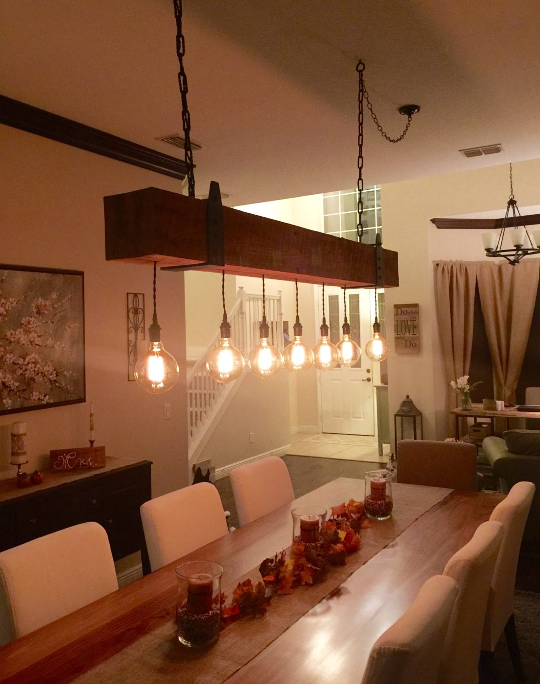 Reclaimed Wood Beam Chandelier With Edison Globe Lights