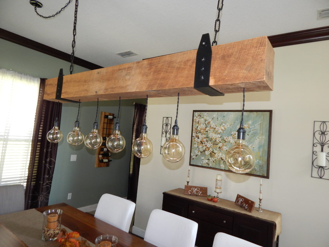 Barn wood chandelier with vintage bulbs