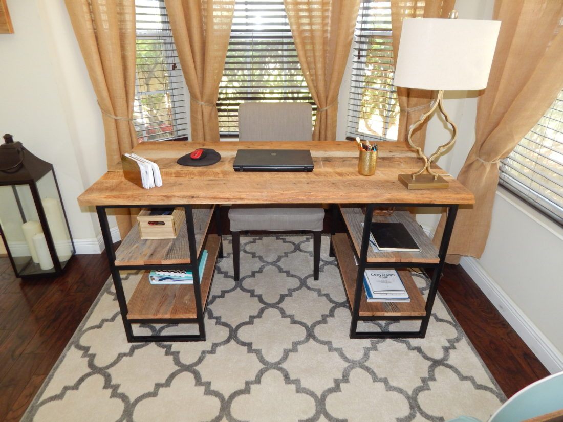 Orlando salvaged barn wood desk with metal base