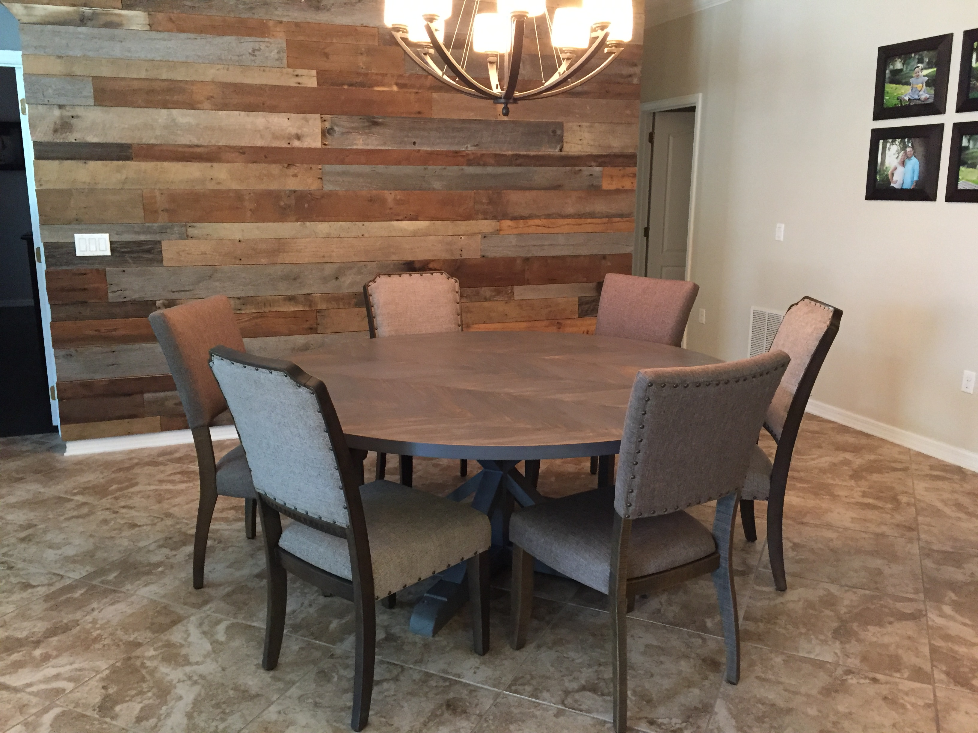 Jon And Sarah S Round Chevron Dining Table With Pedestal