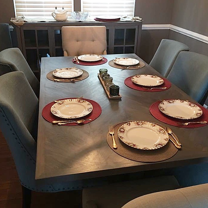 grey dining table with matching server