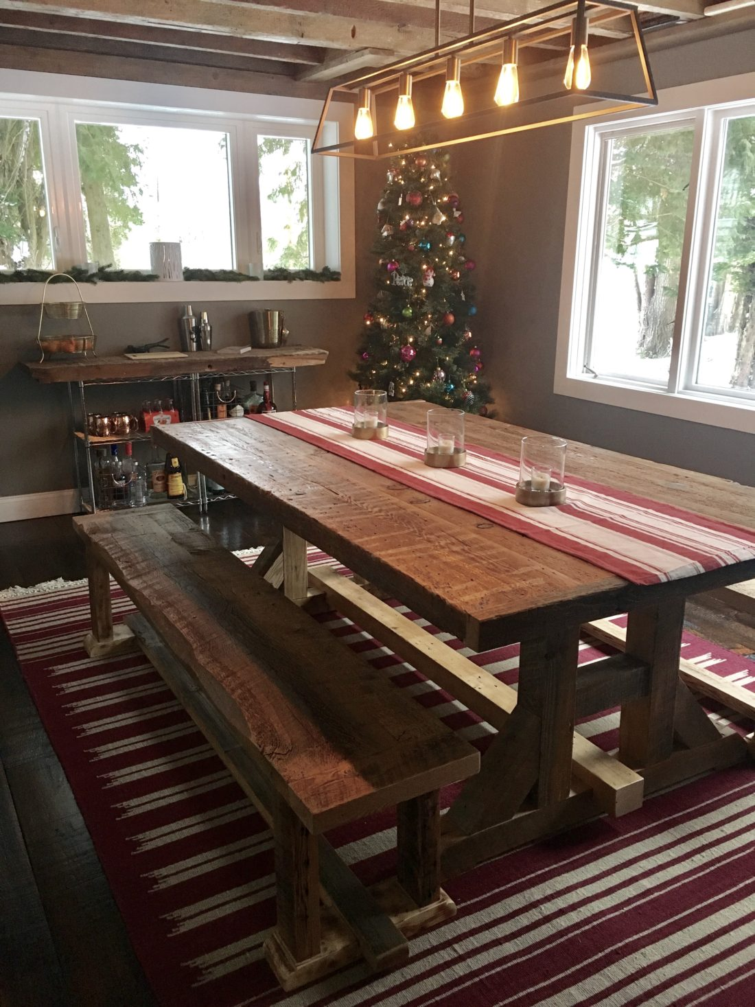 harvest dining table and benches