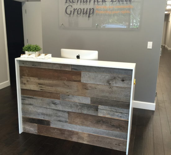 reclaimed wood office. Kendrick Law Group\u0027s Reception Desk. In Custom Projects. Orlando Reclaimed Lumber Wood Office