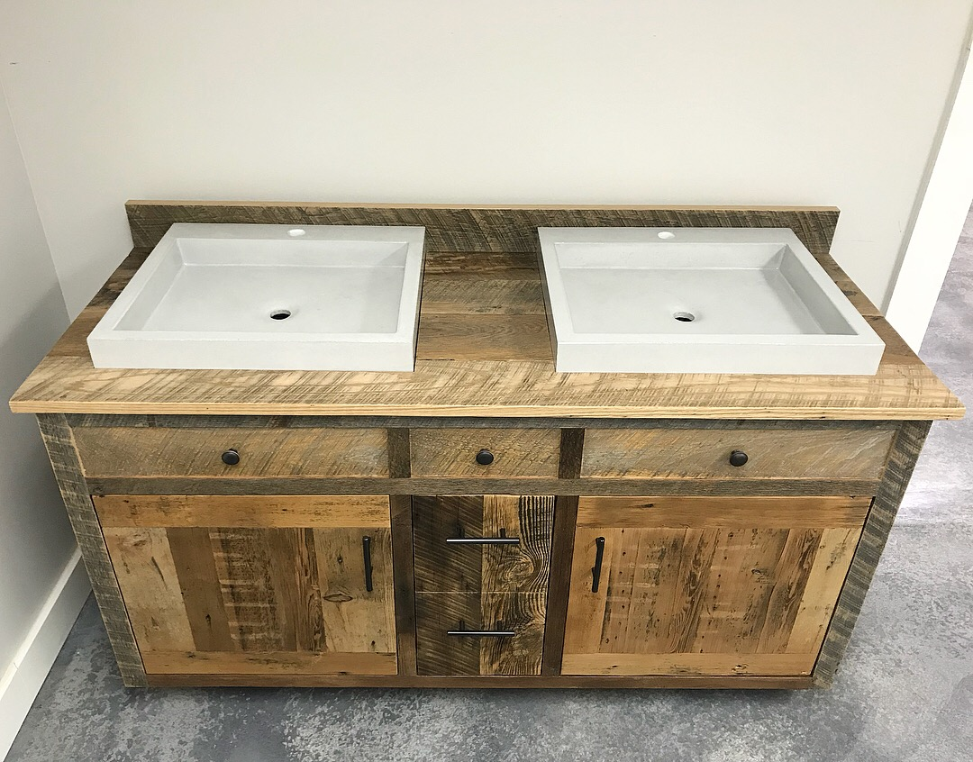 Reclaimed Wood Double Bathroom Vanity With Concrete Sinks Fama Creations