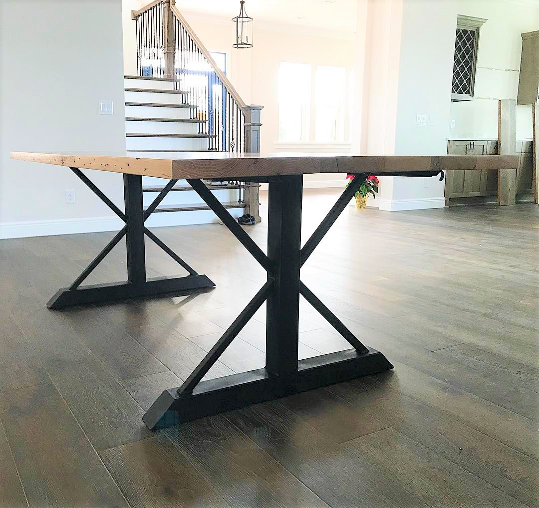 Reclaimed Wood Trestle Table with Metal Legs