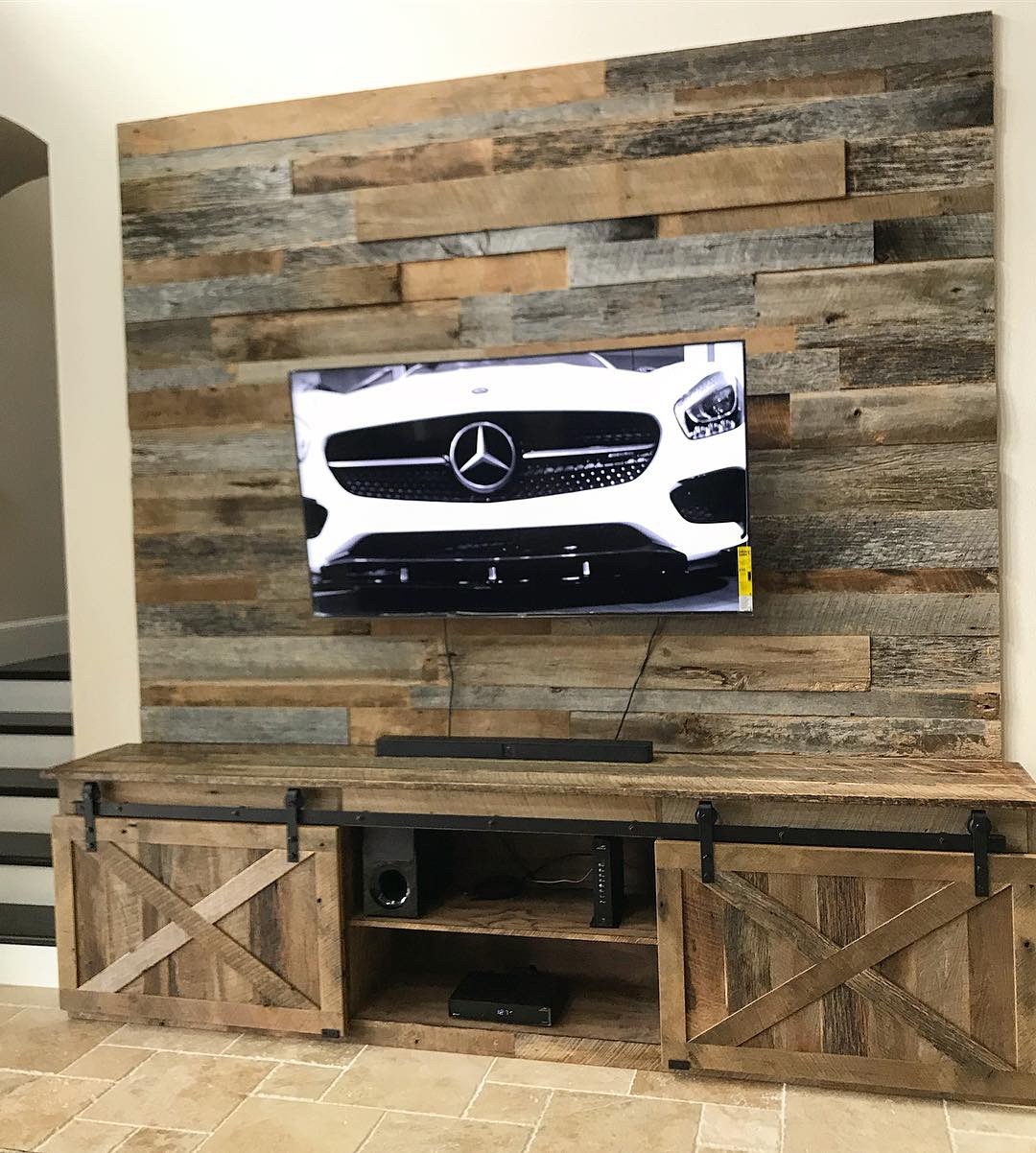 Reclaimed Wood Wall And Matching Farmhouse Media Center